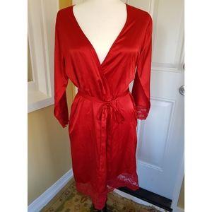 Calvin Klein Red Satin Robe